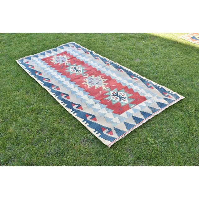 Islamic 1990s Vintage Turkish Anatolian Oushak Kilim- 3′7″ × 7′5″ For Sale - Image 3 of 10