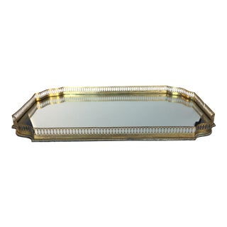 Mirrored Gold Reticulated Plateau Tray