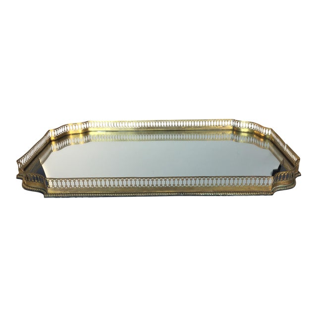 Mirrored Gold Reticulated Plateau Tray For Sale