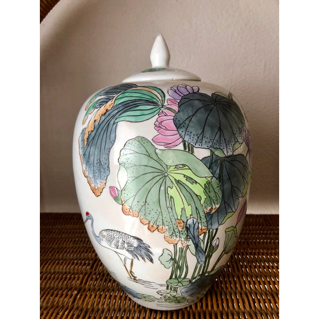 Ceramic Ginger Jar With Water Lillies & Cranes For Sale - Image 7 of 13