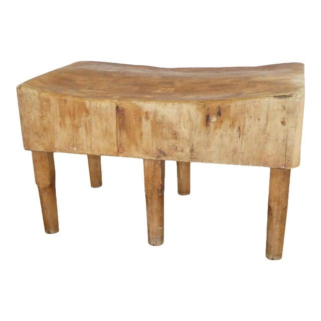 antique six legs butcher block table / kitchen island