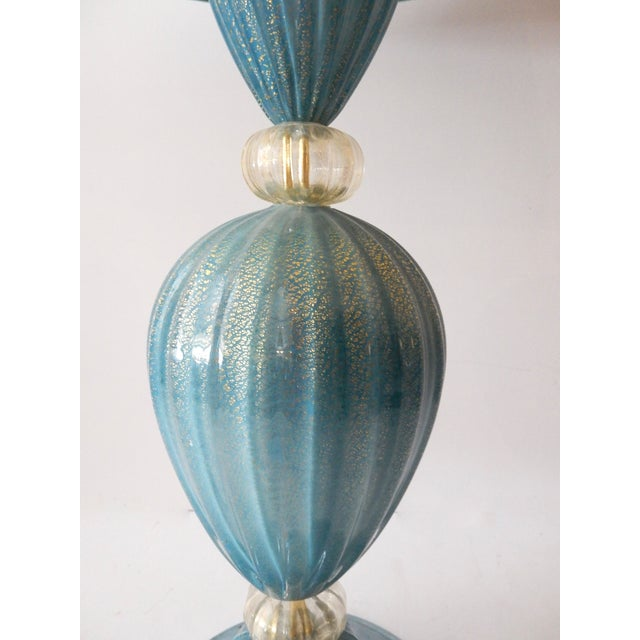 Turquoise Murano Glass Table Lamp - Image 3 of 7
