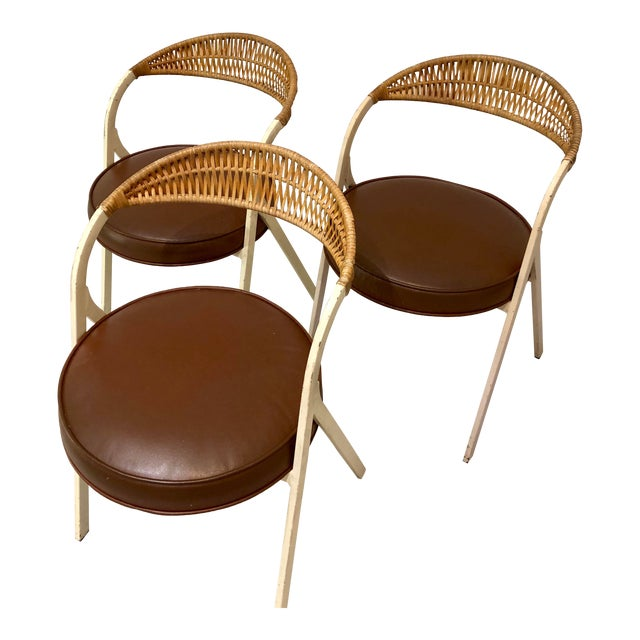 1960s Vintage Arthur Umanoff for Shaver Howard Painted Wrought Iron and Rattan Dining Chairs- Set of 3 For Sale
