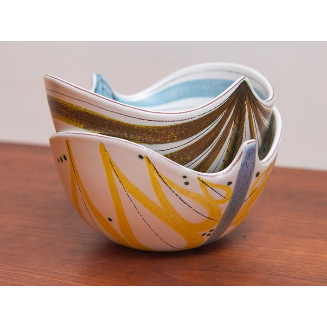 1950s Stig Lindberg for Gustavsberg Faience Leaf Bowls - a Pair For Sale - Image 9 of 11