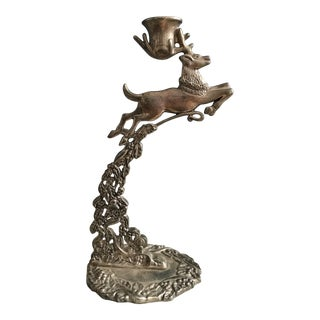 Vintage Godinger Silver Plate Leaping Stag Candle Holder For Sale