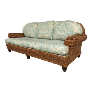 Vintage Woven Wicker Sofa by Walter Wicker For Sale
