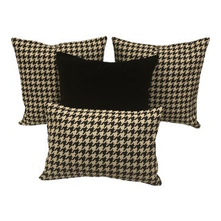 Mid-Century Modern Black and White Houndstooth With Black Velvet Custom Pillows - a Set of 4 For Sale