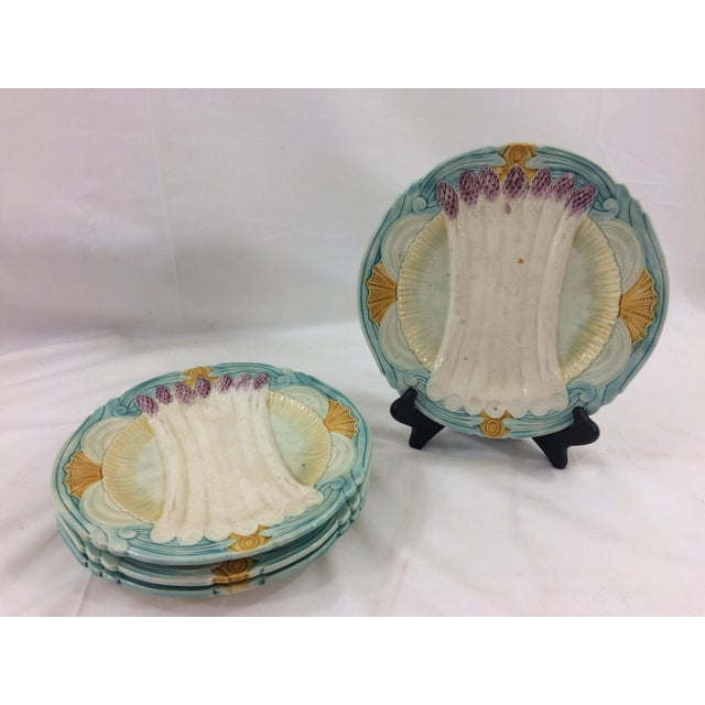French Majolica Asparagus Plates- Set of 4 For Sale - Image 6 of 6