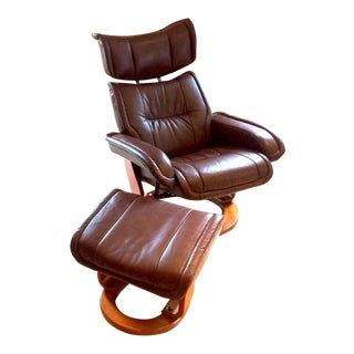 Brown Leather Lounge Chair & Ottoman For Sale