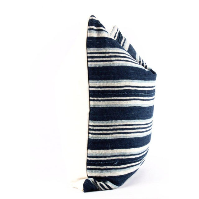 Blue Striped African Mudcloth Pillow - Image 2 of 4