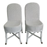 Image of Vintage Lloyd Loom English Wicker Chairs - a Pair For Sale