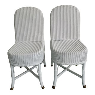Vintage Lloyd Loom English Wicker Chairs - a Pair For Sale