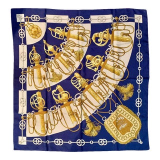 Maison Hermès Paris Vintage Silk Blue Cliquetis Scarf 90 by Julia Abadie, 1972 For Sale