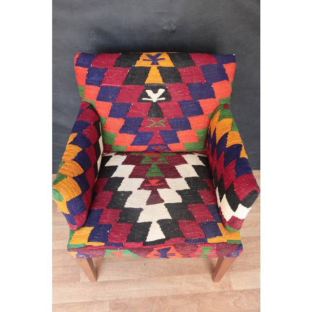 2010s Kilim Upholstered Armchair For Sale - Image 5 of 7