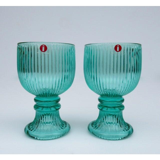 Vintage l'Ittala Crystal Round Fluted Mint Cordial Glasses - Set of 2 For Sale - Image 13 of 13
