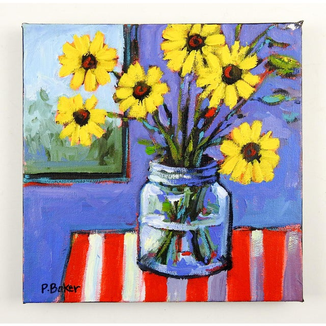 Boho Chic Yellow Daisies Stll Life Painting by Patty Baker For Sale - Image 3 of 3