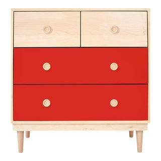 Lukka Modern Kids 4-Drawer Dresser in Maple With Red Finish For Sale