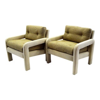 Pair of Modern Parson Tufted Armchairs Two Tone Upholstery, 1970s For Sale