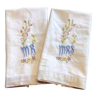 Antique Embroidered Linen Hand Towels For Sale