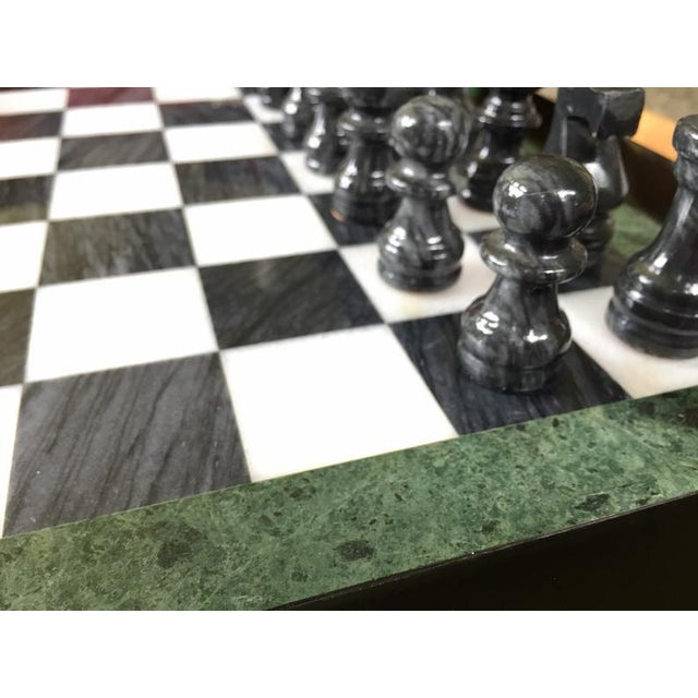Wood Vintage 70's Black Lacquer Box With Drawers and Inlay Marble Chess Board For Sale - Image 7 of 11