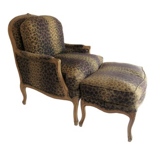 1980s Vintage Louis XV French Bergere Club Chair and Ottoman Set For Sale