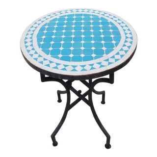 Moroccan Turquoise/White Mosaic Dining Table For Sale