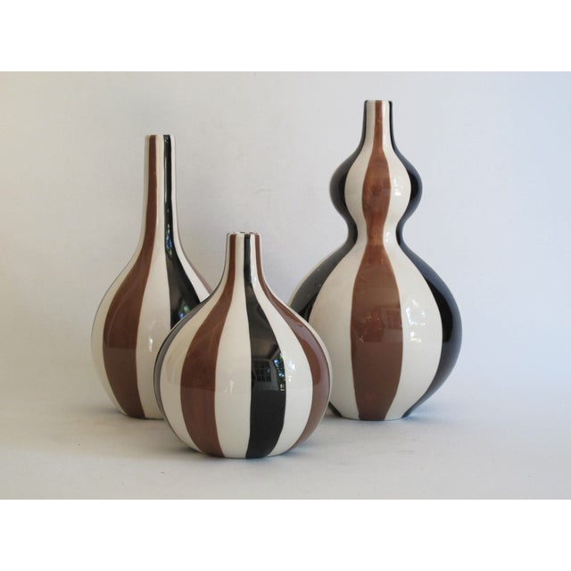 Contemporary Jonathan Adler Striped Vase Collection- Set of 3 For Sale - Image 3 of 6