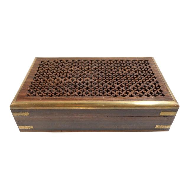 Vintage Pierced Wood Box - Image 1 of 7