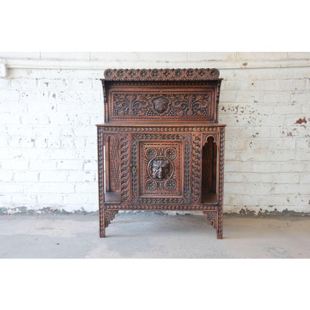 19th Century English Ornate Carved Oak Sideboard Bar Cabinet For Sale - Image 13 of 13