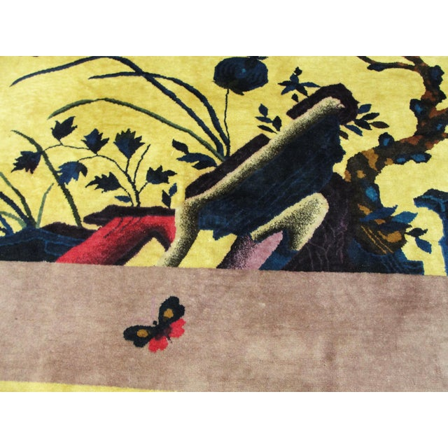 """Textile Antique Chinese Art Deco Rug-8' X 9'8"""" For Sale - Image 7 of 11"""
