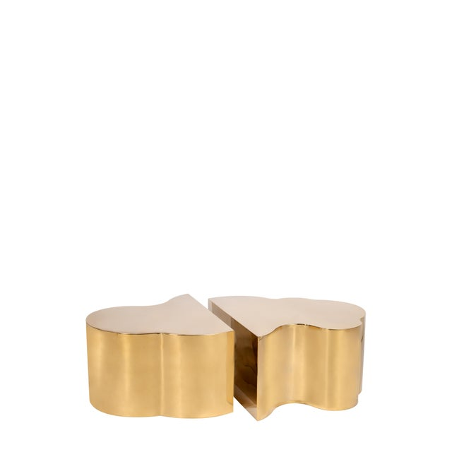 Luca Coffee Tables in Gold - a Pair For Sale - Image 4 of 4