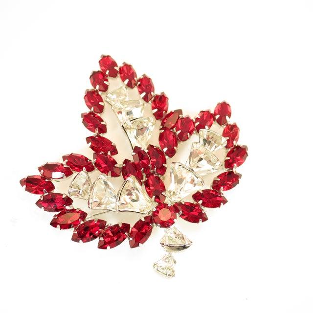 Vendome Ruby Crystal Leaf Brooch 1950s For Sale - Image 12 of 12