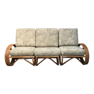 Mid-Century Modern Cream Upholstered Rattan Sofa - 3 Pieces