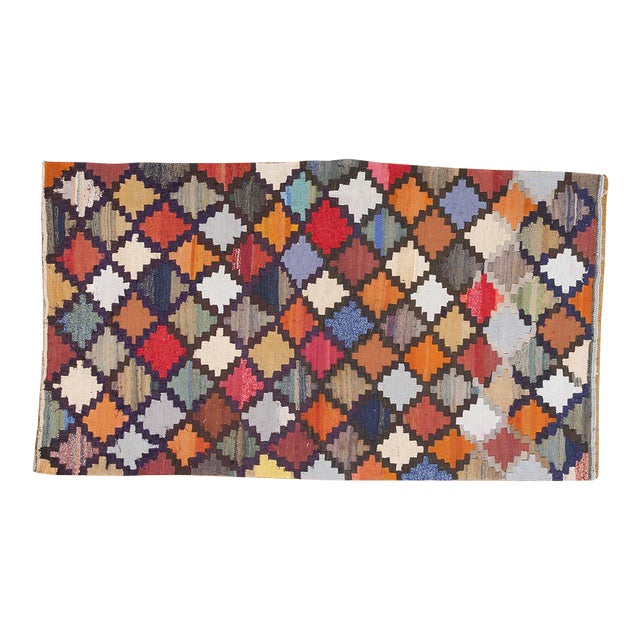 Colorful Patterned Diamond Persian Kilim Rug - 4′6″ × 8′ For Sale