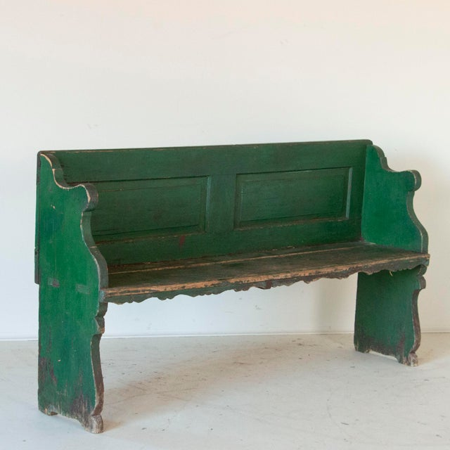 Mid 19th Century Mid 19th Century Antique Original Green Painted Pine Bench For Sale - Image 5 of 5