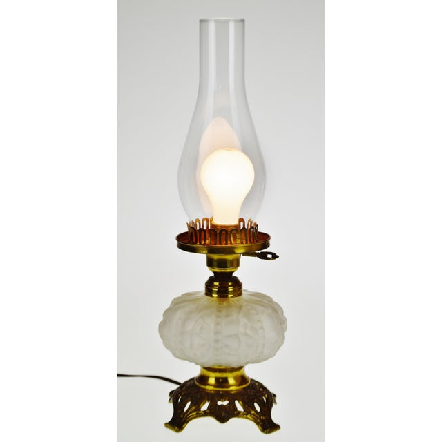 Vintage Electrified Frosted Glass Oil Lamp For Sale - Image 12 of 13