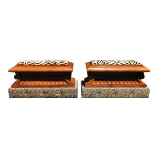Pair of Carved Italian Neoclassical Mahogany Metamorphic Window Benches / Jardeniers For Sale