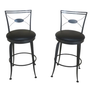 Pair Swivel Seat Iron High Chair Bar Counter Stools For Sale