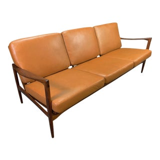 "Vintage Mid Century Modern Walnut & Leather ""Candidate"" Sofa by Ib Kofod Larsen for Ope For Sale"