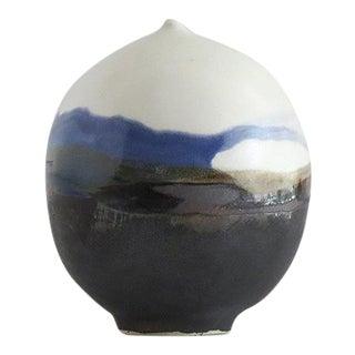 Minimalistic Blue and White Moon Pot Ceramic Vase - Small