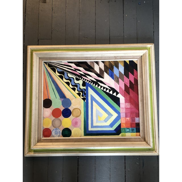 Abstract Vintage Original Abstract Geometric Modernist Painting 1970's For Sale - Image 3 of 6