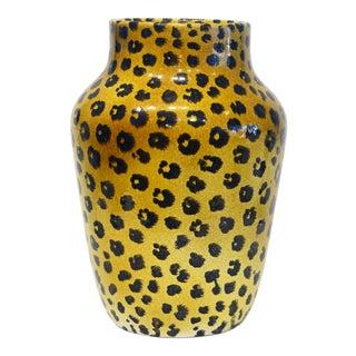 Italian Glazed Terracotta Leopard Pattern Floor Vase For Sale