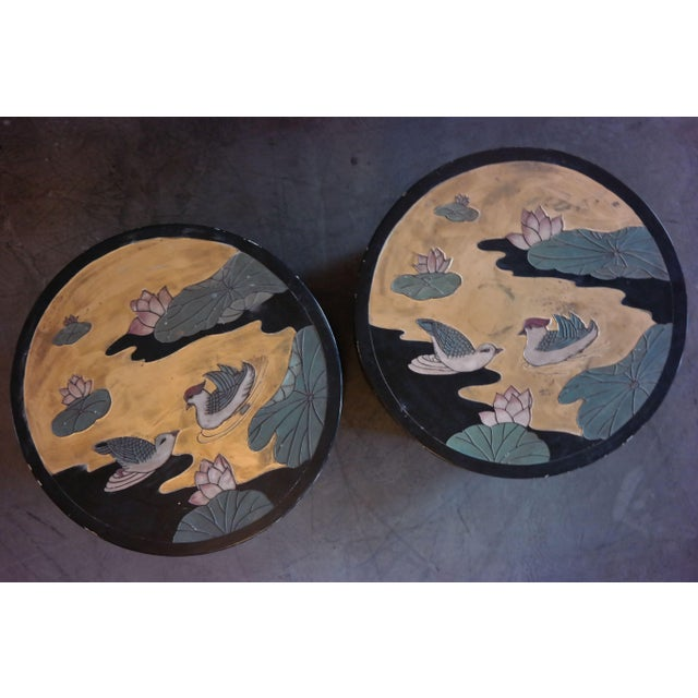Asian Hand Painted Side Tables - A Pair - Image 5 of 6