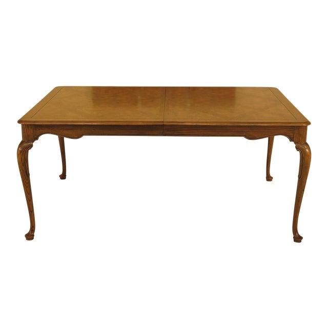 1970s Queen Anne Baker Walnut & Oak Dining Room Table For Sale