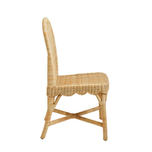 Contemporary Linton Scalloped Rattan Side Chairs, Set of 2 For Sale - Image 3 of 12