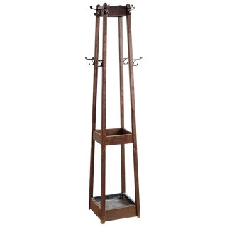 English Oak Arts & Crafts Hall Tree Stand For Sale