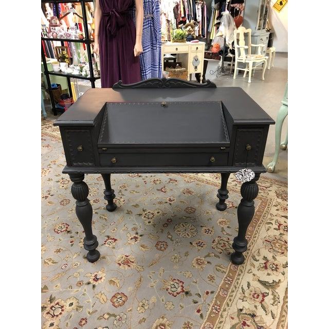 Master Craft Furniture, Northwestern Cabinet Co 1930's Spinet desk updated  with charcoal gray paint and - Antique Master Craft Walnut Spinet Desk Chairish