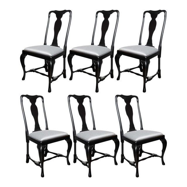 Set of Mid-Century Dining Chairs with Cabriole Detailing by Jansen For Sale