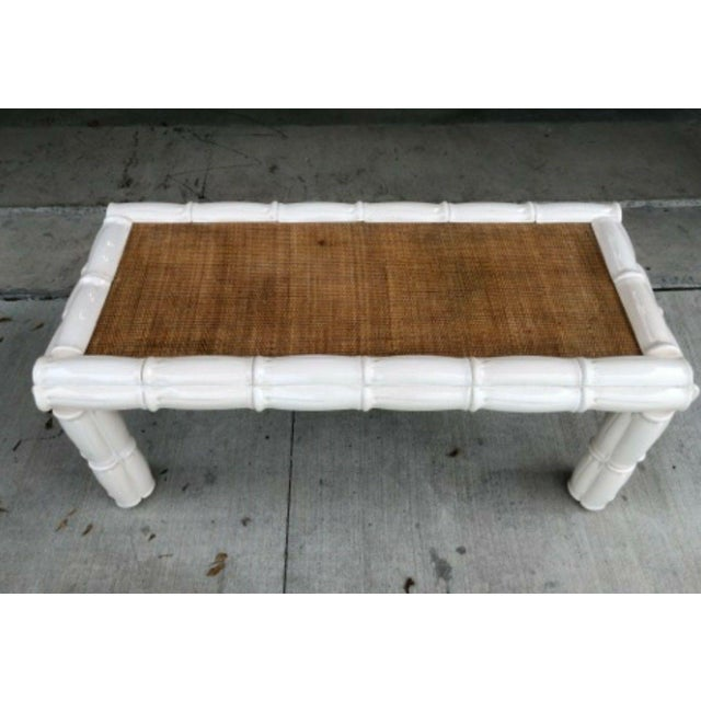 1950s 1950s Italian Palm Beach Style Blanc De Chine Terracotta Faux Bamboo Table For Sale - Image 5 of 7