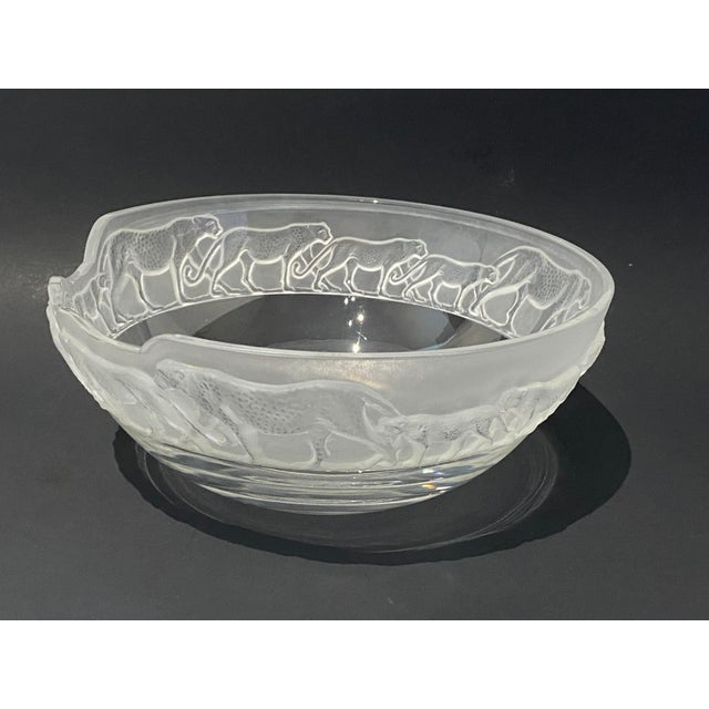 1970s Art Deco Revival Nachtmann Safari Leopard Bowl Frosted and Clear Lead Crystal For Sale - Image 5 of 13